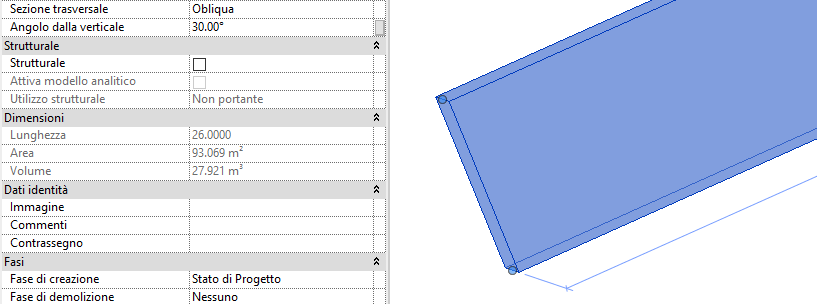Revit 2021 muri inclinati
